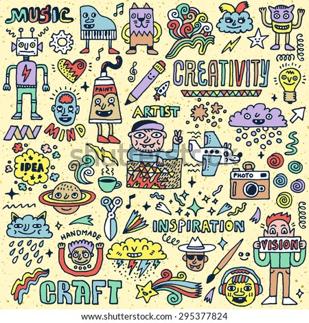 Creativity Activities Funny Doodle Cartoon Set 2. Arts and Crafts. Vector Hand Drawn Color Illustration Pattern. - stock vector