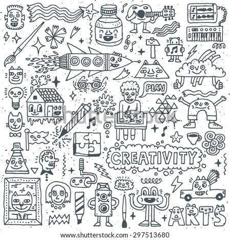 Creativity Activities Funny Doodle Cartoon Set 1. Arts and Crafts. Vector Hand Drawn Illustration Pattern. - stock vector