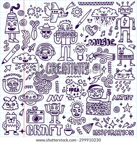 Creativity Activities Funny Doodle Cartoon Set 2. Arts and Crafts. Vector Hand Drawn Illustration. School Notebook Pattern. - stock vector