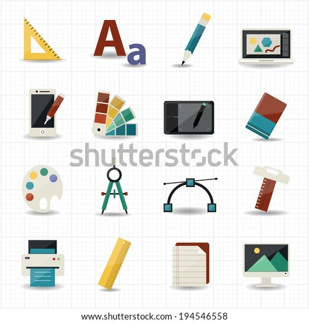 Creativity and Design Icons - stock vector