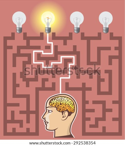 Creativity Brainstorming Passage through Maze of thoughts - stock vector