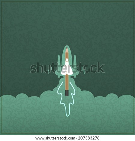 Creativity learning. Rocket ship launch made with pencils - stock vector