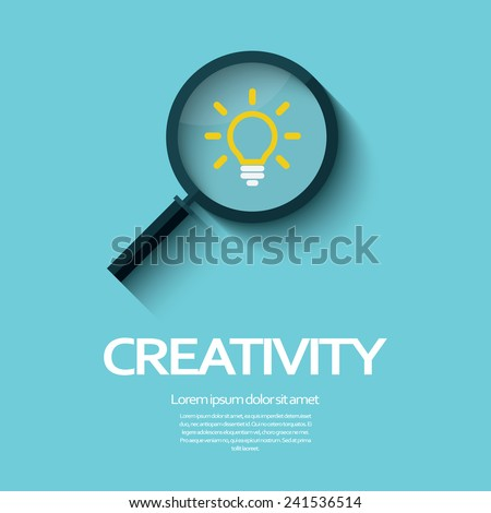 Creativity symbol with magnifying glass icon and light bulb. Eps10 vector illustration. - stock vector