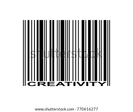 Creativity word and barcode icon