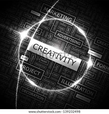 CREATIVITY. Word cloud concept illustration. - stock vector