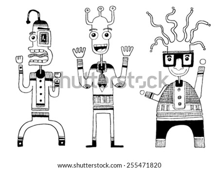 CREATURES people funny caricatures graphic simple figures cartoon tongue out big mouth smile glasses big eyes - stock vector