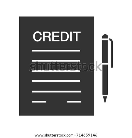 Credit Agreement Contract Glyph Icon Silhouette Stock Vector