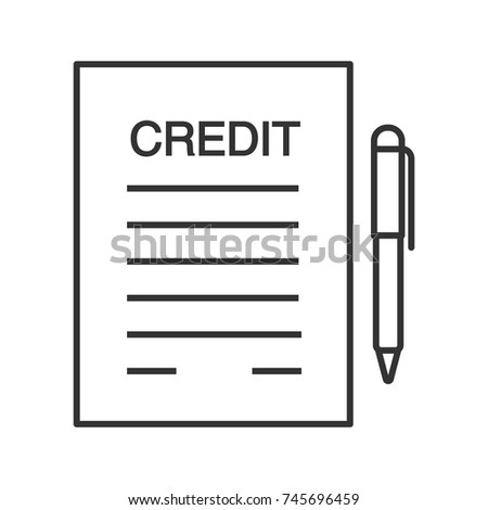 Credit Agreement, Contract Linear Icon. Contract. Thin Line Illustration.  Mortgage, Loan  Loan Document