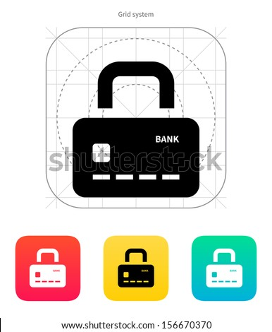 Credit card abstract padlock icon. Secure Payment. Vector illustration. - stock vector