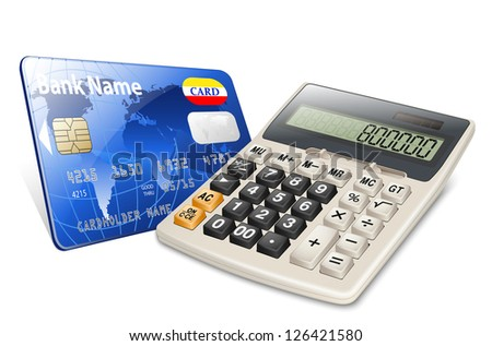 Credit card and calculator isolated on white background - stock vector