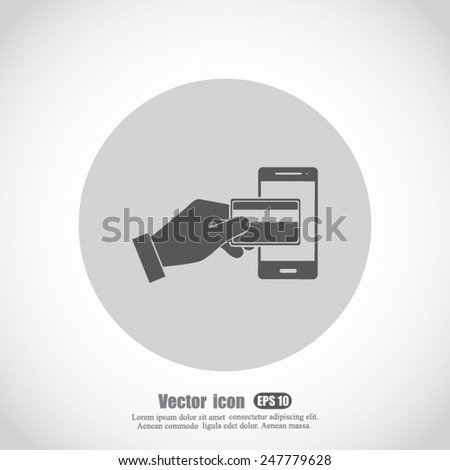 Credit Card and modern mobile phone vector icon - stock vector
