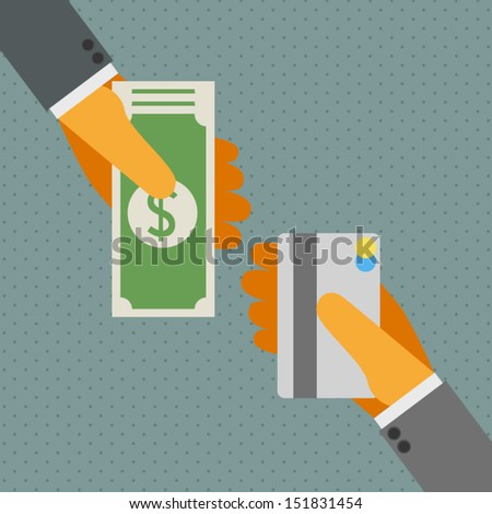 Credit card and money. - stock vector