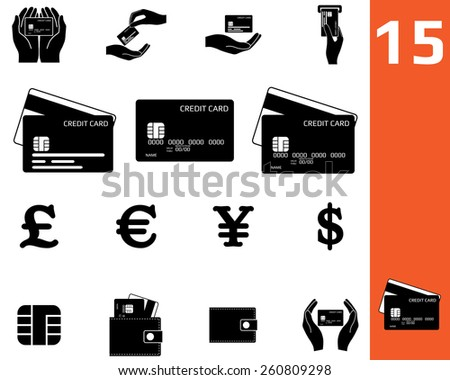 Credit card and money set icons. - stock vector