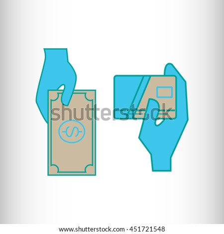 Credit Card and / or a Banknote in the Hand - stock vector