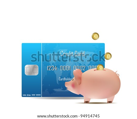 credit card and piggy bank - stock vector