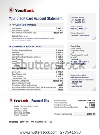 Credit Card Bank Account Statement Finance Document Template - stock vector