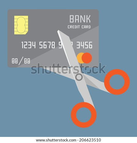 Credit card being cut with scissors - stock vector