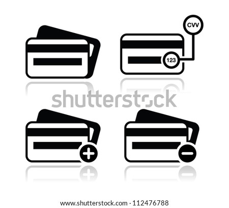Credit Card, CVV code black icons set with shadow - stock vector