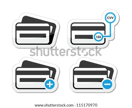 Credit Card, CVV code icons as labels set - stock vector