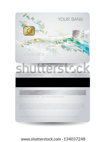 Credit card design with abstract shapes - stock vector