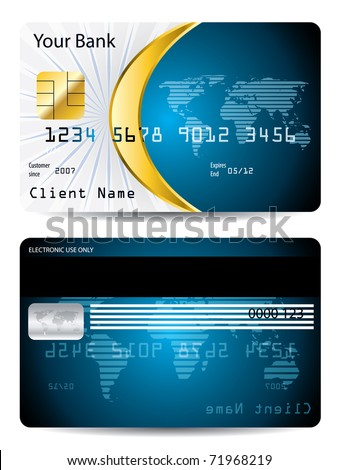 Credit card design with golden shape - stock vector