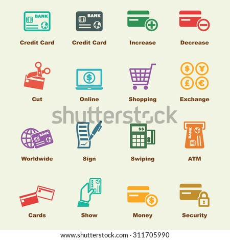 credit card elements, vector infographic icons - stock vector