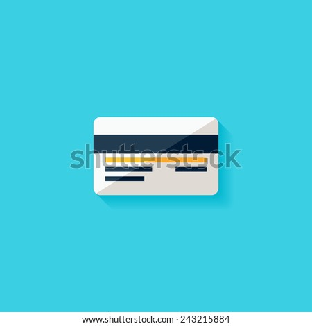Credit card flat icon. Modern flat icons vector collection with long shadow effect in stylish colors of web design objects. Trendy Flat Style. Isolated on blue background. Flat design. EPS 10. - stock vector