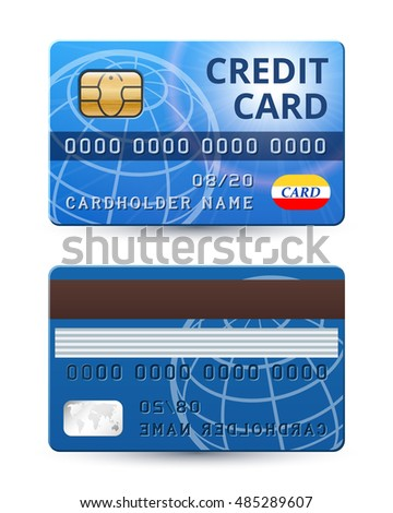 Credit card from both sides, realistic vector