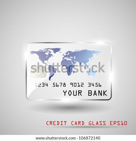Credit card glass, vector illustration, EPS10 - stock vector