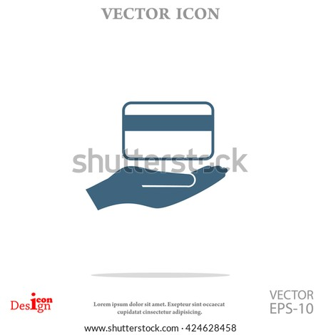 credit card holding vector icon - stock vector
