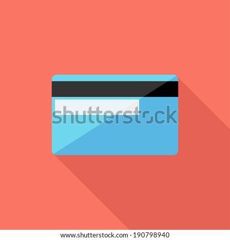 Credit card icon. Flat design style modern vector illustration. Isolated on stylish color background. Flat long shadow icon. Elements in flat design. - stock vector