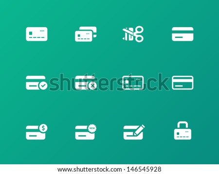 Credit card icons on green background. Vector illustration. - stock vector