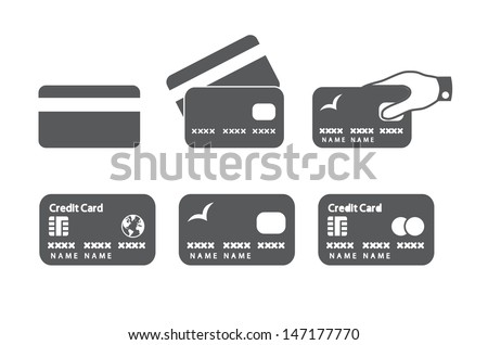 Credit card icons. Vector illustration. - stock vector