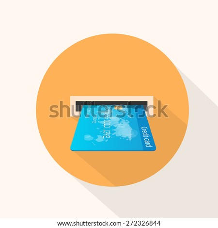 Credit Card in Atm Slot Icon Flat Vector Illustration - stock vector