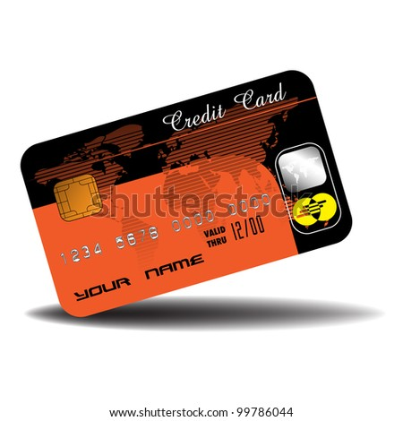 Credit card in orange and black with a world map design, isolated on white background - stock vector