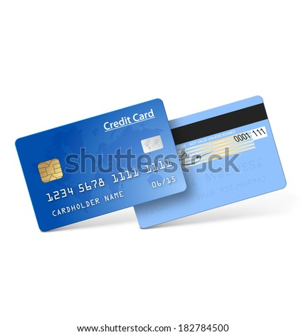 Credit card isolated on white background. Vector illustration. Realistic  - stock vector