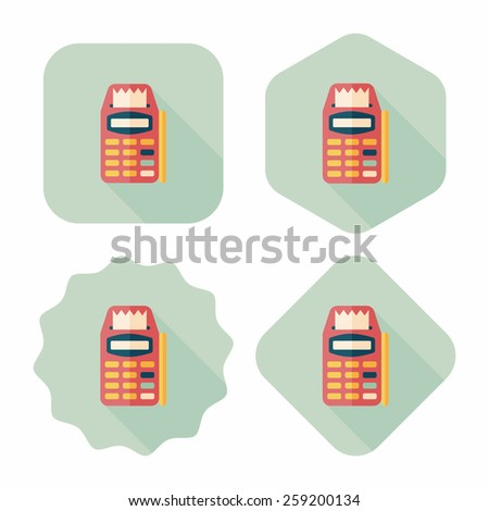Credit card machine flat icon with long shadow,eps10 - stock vector