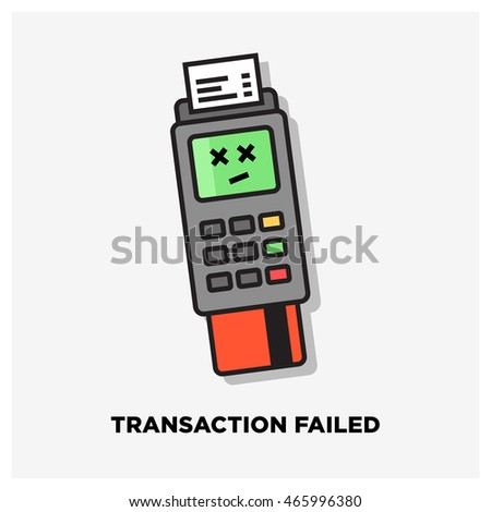 Credit Card Machine Transaction Failed (Line Art Vector Illustration in Flat Style Design)