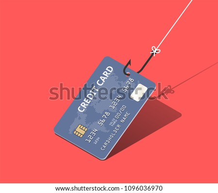 Credit card on fishing hook over scarlet background. Scam and phishing concept. Vector isometric illustration