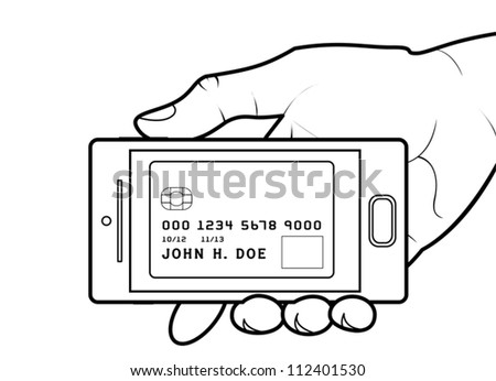 Credit card on smartphone screen. Modifiable colors. EPS/AI8 file. - stock vector