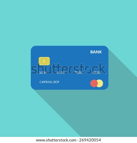Credit card. Online payment. Cash withdrawal. Financial operations.Shopping. Flat style icon with long shadow. Vector illustration EPS10 - stock vector