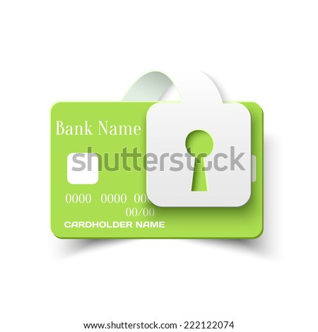 Credit Card Online Payments Protection Security Concept Icon, Vector Design Template - stock vector
