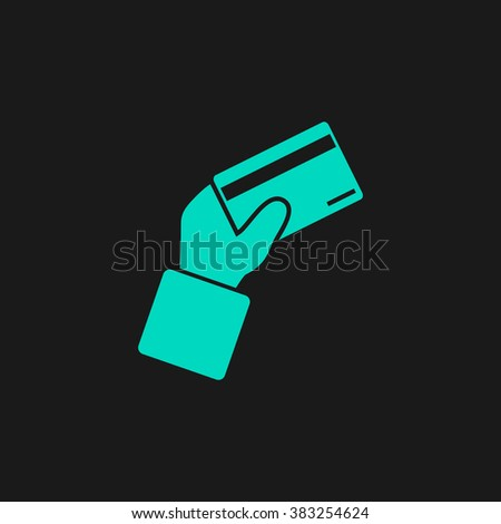 Credit card payment in hand. Flat simple modern illustration pictogram. Collection concept symbol for infographic project and logo - stock vector