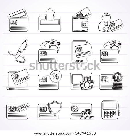 credit card, POS terminal and ATM icons - vector icon set - stock vector