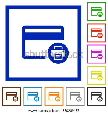 credit card print record flat color stock vector 660289153