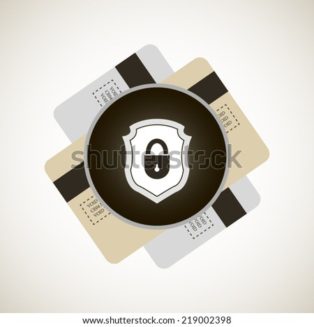 Credit card protection illustration with two card icons and lock on shield poster - stock vector