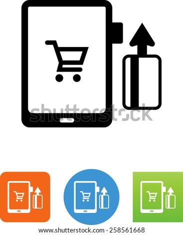 Credit card reader attached to a tablet with a credit card being swiped. Vector icons for video, mobile apps, Web sites and print projects. - stock vector