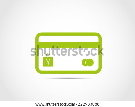 Credit Card Shopping Bag Yen Currency - stock vector