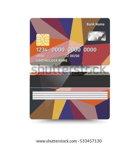 Credit Card two sides with Abstract design. Vector illustration