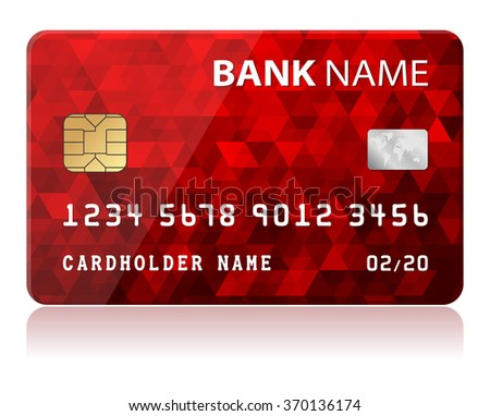 Credit Card Vector illustration of red credit card isolated on white background - stock vector